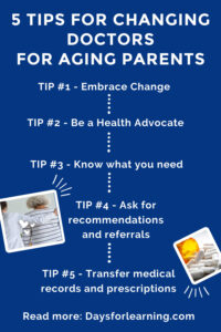 5 Tips for changing doctors for aging parents to help change be as stress free as possible. Ask for recommendations, know what you need and be your own health advocate.
